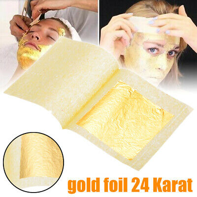 5/10/50/100x Gold Foil Leaf Pure 24K Food Decor Edible Face Beauty Gilding 1.7""
