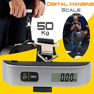 Portable Balance Digital LCD Electronic Hook Hanging Luggage Scale Weight-110lb
