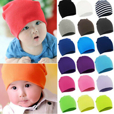 Baby Kids Toddler Infant Elastic Candy Color Cotton Soft Double Hats Caps Beanie