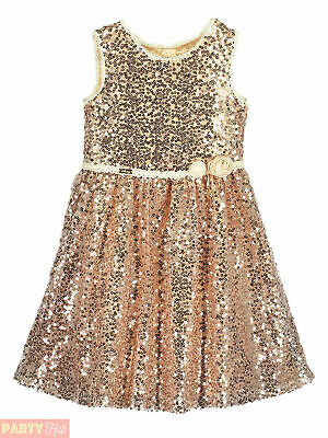 Girls Disney Boutique Belle Sequin Rose Gold Dress Party Beauty and the Beast