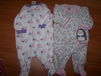 NB Baby Girl's Size NEWBORN 0M Fleece One-Piece Footed Sleeper Zipper Gerber
