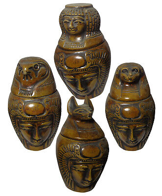 Set Of 4 Egypt Ancient Canopic XL Jars Organs Storage Statues Pharaoh Collection