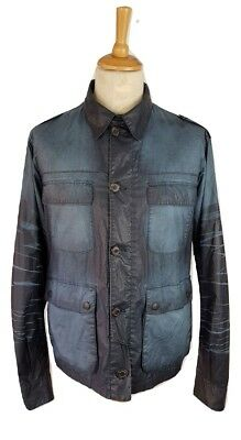 Barbour Mens Rare Savanah Blue Denim Effect Wax Cotton Beacon Utility Jacket, XL