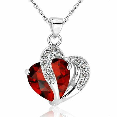 New Fashion Peach Heart Crystal CZ Pendant Necklace Wedding Engagement Jewellery
