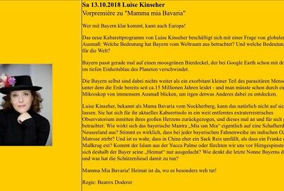 2 x Luise Kinseher Samstag, 13.10.18 in  Gilching