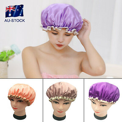 Waterproof Shower Cap Women's Double Layer Thicken Bath Cap Hair Hat Satin Cover