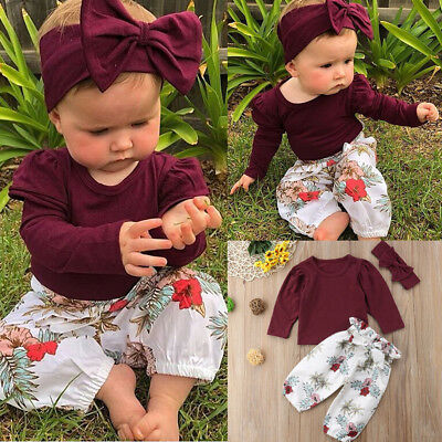 3pcs Newborn Toddler Infant Baby Girl Clothes Tops+Pants+Headband Outfits Set