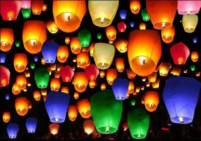 50pcs Chinese Paper Lanterns Mix Color Sky Fire Fly Candle Lamp for Wish Wedding