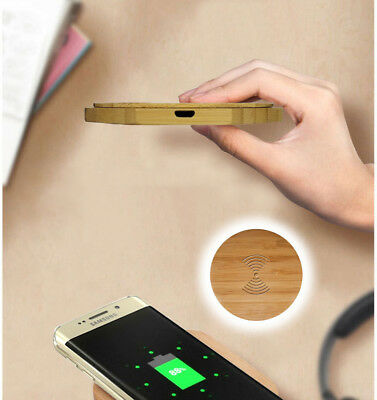 Fast Charging Slim Qi Wireless Phone Charger Wood Pad for smartphone 2000mAh 5V
