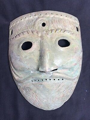 Museam Quality Very Ancient Old Greak Bronze Mask Of Heracles Classical Period O