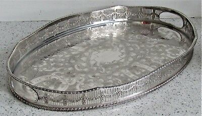 Superb Vintage Viners Silver Plated Chased Galleried Drinks Tray Garden Party