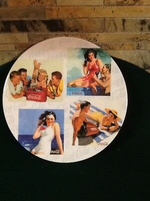 "One Coca Cola 11"" Plastic Dinner Plate With Vintage Beach Party Pictures"