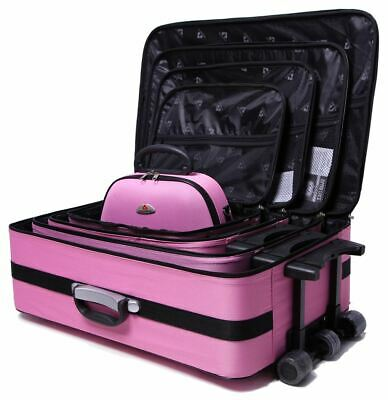 5 PCS Delegate Travel Luggage Set Lightweight Trolley Suitcase Wheelie Bag Pink