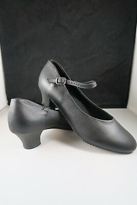 NEW Professional Song and Dance Chorus shoes buckle BLACK low heal
