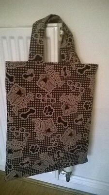Tote bag hand crafted dog design NEW unique Brown short handle bone lining