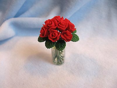 dollhouse miniature FLOWER POT FLOWERS RED ROSE ROSES IN VASE