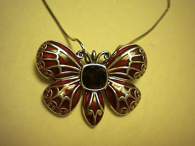 Brighton necklace THE DUTCHESS red swarvosky crystlal BUTTERFLY NWT