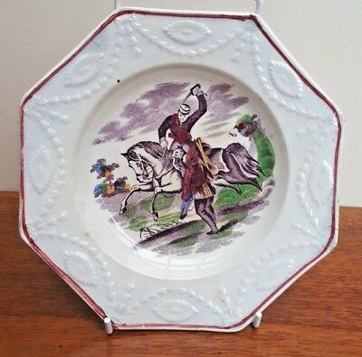 Antique 19thC Childs Nursery Ware Octagonal Plate Sinister Subject