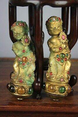 19th/20th C. Two Tibetan Bronze Hollow Figurines With Jeweled Accents