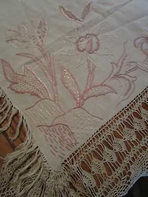 Antique 1890's Linen Tablecloth W Embroidery, Crochet Lace, Mono 'S', Signed