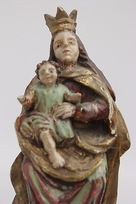 Vintage sacral art Maria with Jesus child monastery/church 18th century colored