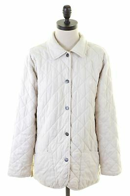 CONTE OF FLORENCE Womens Quilted Jacket Size 14 Medium Off White Polyester cb5ddb643e8