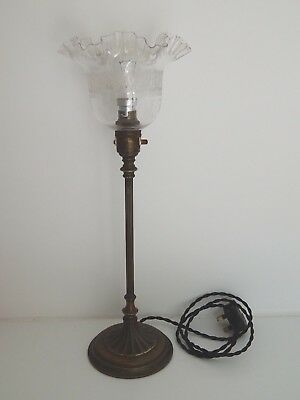 "Original Edwardian Brass Table Lamp with clear glass etched shade 18"" tall"