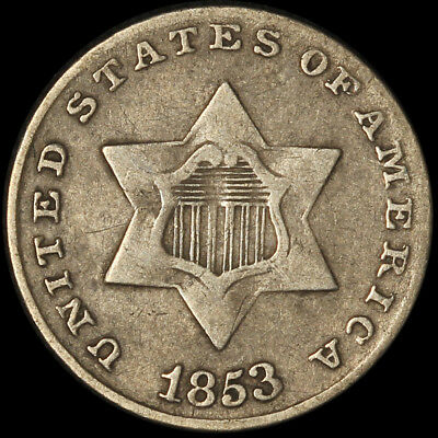 1853 Three Cent Silver Coin - Free Shipping USA