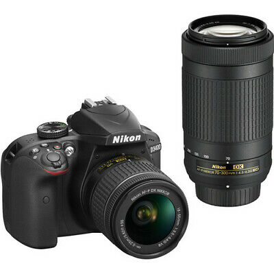 Nikon D3400 DSLR Camera with 18-55mm AF-P and 70-300mm AF-P VR Lenses (Black)