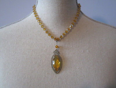 vintage antique art deco Czech citrine glass crystal filigree pendant necklace