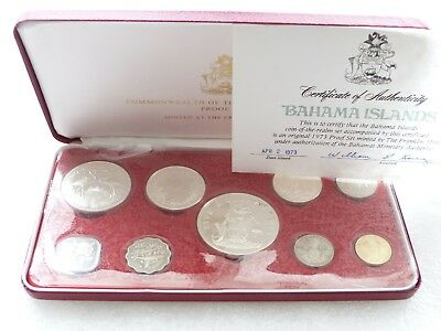 1973 Franklin Mint Coinage of Bahamas Proof 9 Coin Set Box Coa W/ 4 Silver Coins