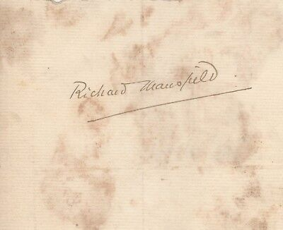 Richard Mansfield Cut Autograph Signature Dr. Jekyll & Mr. Hyde English Actor