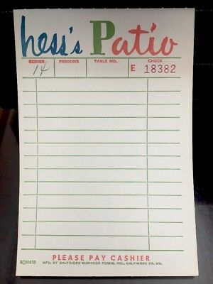 Vintage Hess's Patio Restaurant Receipt Allentown PA Store Advertising Unused