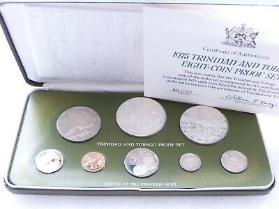 1975 Franklin Mint Trinidad and Tobago Proof 8 Coin Set Box Coa with Silver