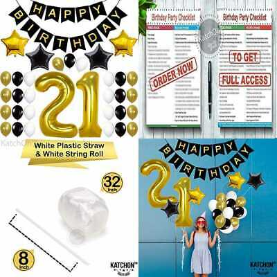 21ST BIRTHDAY DECORATIONS PARTY SUPPLIES Birthday Balloons 21 Number Banner BLAC