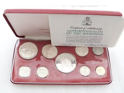 1974 Franklin Mint Coinage of Bahamas Proof 9 Coin Set Box Coa W/ 4 Silver Coins