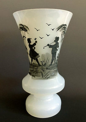 ANTIQUE c1880 BOHEMIAN VICTORIAN MARY GREGORY Black on White OPALINE GLASS VASE
