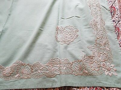 Large Vintage Pale Green Hand Embroidered Irish Linen Tea Tablecloth.