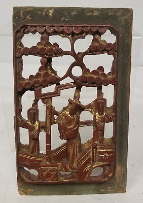 Antique Vintage Chinese Painted and Gilt Carved Wood Wall Panel