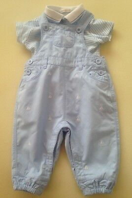 Mintini Baby Boys Up to 6 Months Old Blue Dungarees & Striped Polo Shirt Set