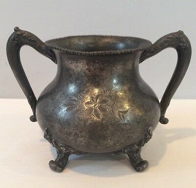 Antique 1890's Footed Pot By Cohannet Silver Co. Quadruple Plated #801 Signed