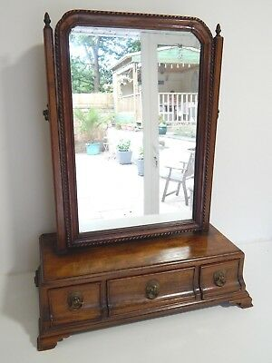 Antique Late Georgian mahogany 3 draw dressing table swing mirror