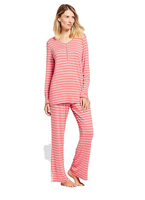Lamaze Women's Nursing Long Sleeve Henley Top & Pants Pajama Set - New Coral X-L