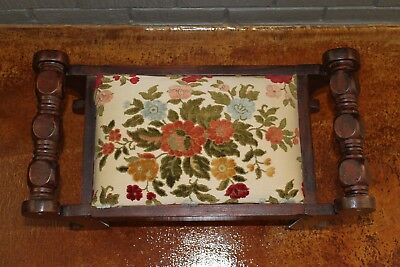 Vintage Foot Stool Wood with Floral Carpet Upholstery
