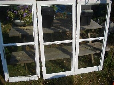 3 vintage reclaimed timber window casements painted
