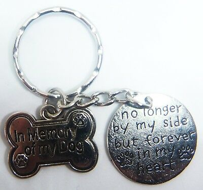 'in Memory Of My Dog' 'no Longer By My Side' Keyring Pet Memorial Gift Bag Pets