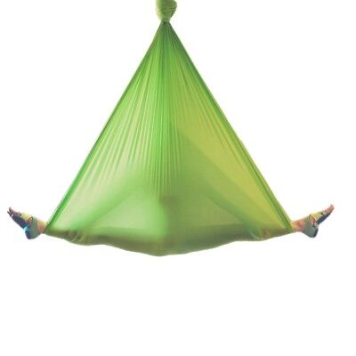 (Green) - wellsem Deluxe L:5.5 Yards W:3 Yard Pilates Yoga Flying Swing Aerial