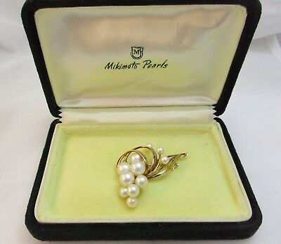MIKIMOTO -14ct Yellow Gold & Pearl Vintage Brooch
