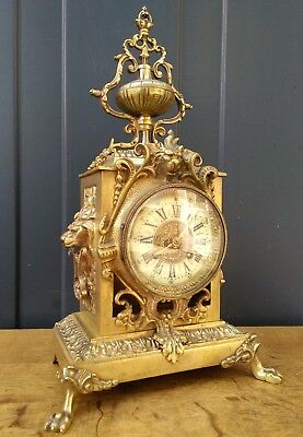 Antique French bronze Louis XVI style mantle clock - têtes de lion