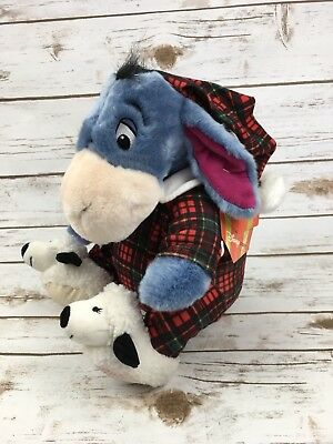 "Eeyore Plush Winnie The Pooh Holiday Pajama PJ's Stuffed Animal 12"" Christmas"